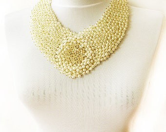 Ivory Pearl Peter Pan Collar Necklace-Embroidery-fashion collar jewelry