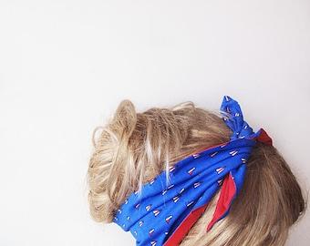 Nautical Red and Blue Bow Hair Wrap, Women's Headband , Summer Beach Hairband,  Spring Headband,For Women, Accessories
