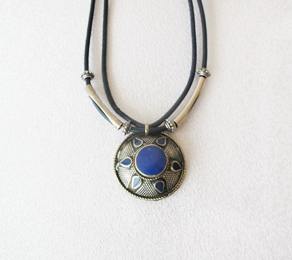 Dark Blue, Afghan jewelry, ethnic necklace, tribal necklace,  lapis lazuli necklace
