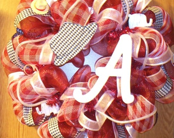 Alabama Crimson Tide Houndstooth Deco Mesh Wreath Christmas Sale