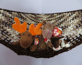 Crochet toy net hammock in brown shades with dark brown trim, stuffed animal storage for boys room MADE TO ORDER
