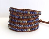 Wrap Bracelet - Sodalite Blue Stones, Brown Leather - Bohemian Artisan Chic