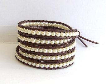 Pearl Leather Wrap Bracelet - Creamy White Pearls, Brown Leather - Artisan Bracelet