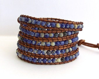 Wrap Bracelet - Sodalite Blue Stones, Brown Leather - Bohemian Artisan Chic