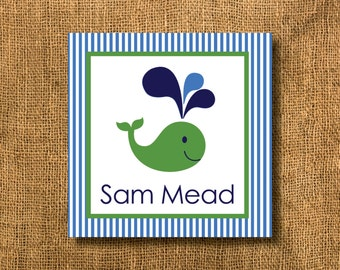 Whale Boy or Girl Gift Tags or Calling Cards, Whale Gift Tags, Boy Gift Tags, Blue and Green Gift Tags