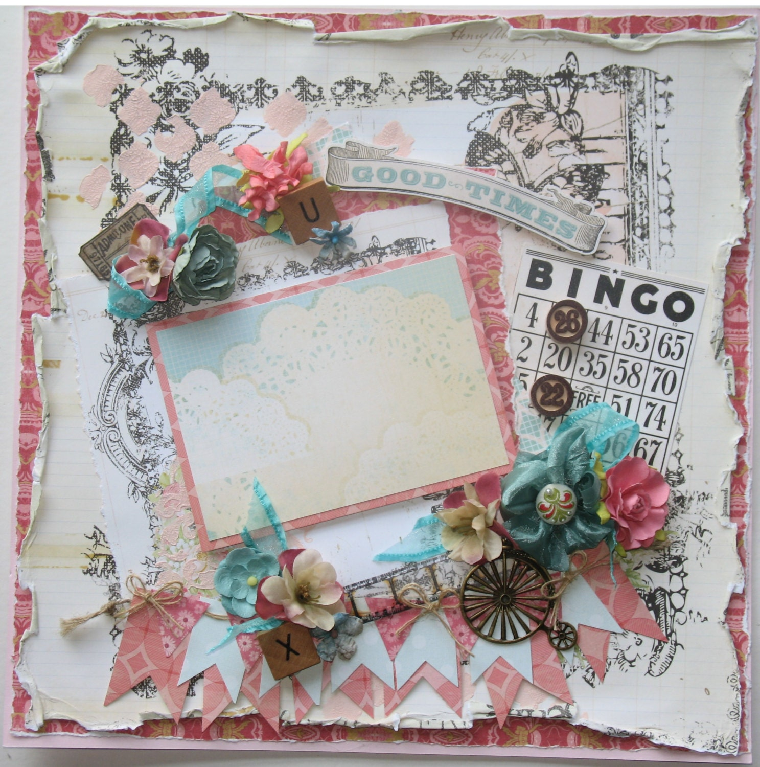 Premade Scrapbook Page 12 X 12 Vintage Shabby Chic