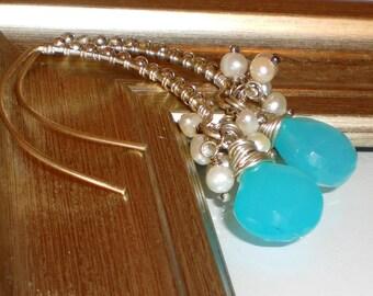 Caribbean Sea Earrings, Blue Chalcedony Earrings, Fresh Water Pearl Earrings, Pearl Earrings, Bridal Earrings, Sterling Silver Earrings