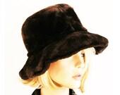 Vintage 1990s Oversized Funky Furry Cloche Dark Brown Faux Fur Big Hat