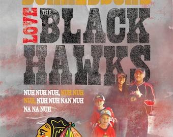 Chicago Blackhawks - Custom Name - Family Picture - Vertical Print