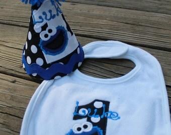 Cookie Monster Birthday Hat & Bib combo