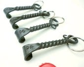 Groomsmen gift set of 4 Personalized Keychain Bottle Openers made by Blacksmith