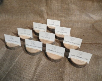 Set of Ten (10) Wood Place Card/ Table Number Holders