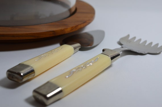 Server set vintage canape fork butter or cheese spreader retro for Canape spreaders