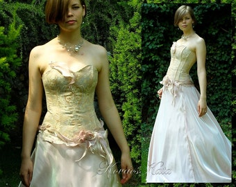 Rococo Inspired Corseted Alternative Wedding Gown Blush Bridal dress OOAK - Antoinette