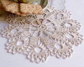 Small cream crochet doily Hand crocheted cotton lace doilies Cream crochet doilies Doily lace crochet