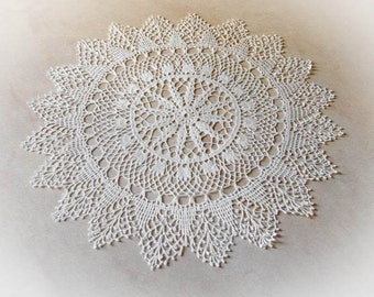 Large lace doily White elegant crochet doilies Table decoration Round crochet centerpiece Large crochet doily Crochet decoration 135