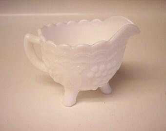Vintage Imperial Glass milk glass creamer in Vintage Grape pattern 1950 pattern