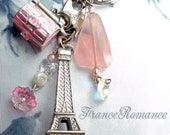 Wedding key chain, silver Eiffel Tower - Princess Bride Elopes in Paris - treasure chest bling,  love chunky Rose Qtz
