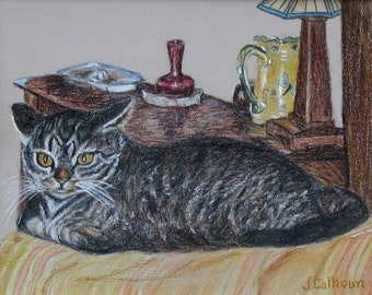 """Fine Art Print of my Original Colored Pencil 8 X 10 Painting """"Comfy Kitty"""""""