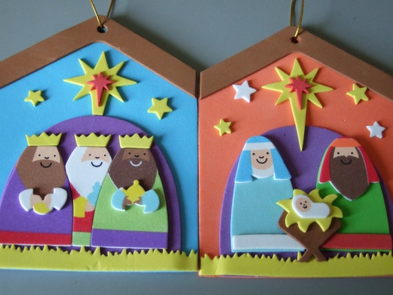 15 sale foam set of 2 christmas decorations mary joseph for Baby jesus christmas decoration