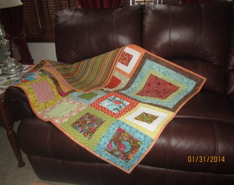 "Baby Quilt Square in a Square Quilt of Many Colors!  36"" x 44"" quilt."