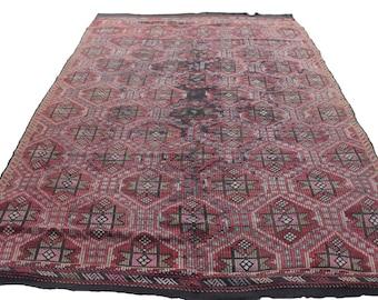 "Vintage Handwoven Wool Rug - Handmade Turkish Decorative Kilim Rug - 71,5""x114'' - Bohemian Home Decor - Antique Kilim Rug - Riot of Colors"