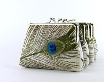 Bridesmaid Gift, EllenVintage Peacock Silk Purse In Beige