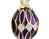 Purple Bunny Rabbit  Faberge Egg with Clear Crystals Beads Enamel Spacer Bead  For European Style Charm Bracelet