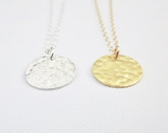 Gold Disc Necklace - Hammered Disc- 24k Gold Vermeil or Sterling Silver
