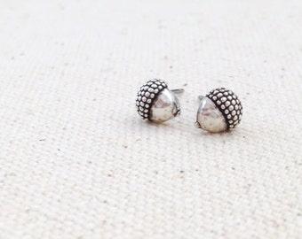 Tiny Sterling Silver Acorn Earrings - Sterling Silver Post Earrings - Fall Jewelry - Chestnut