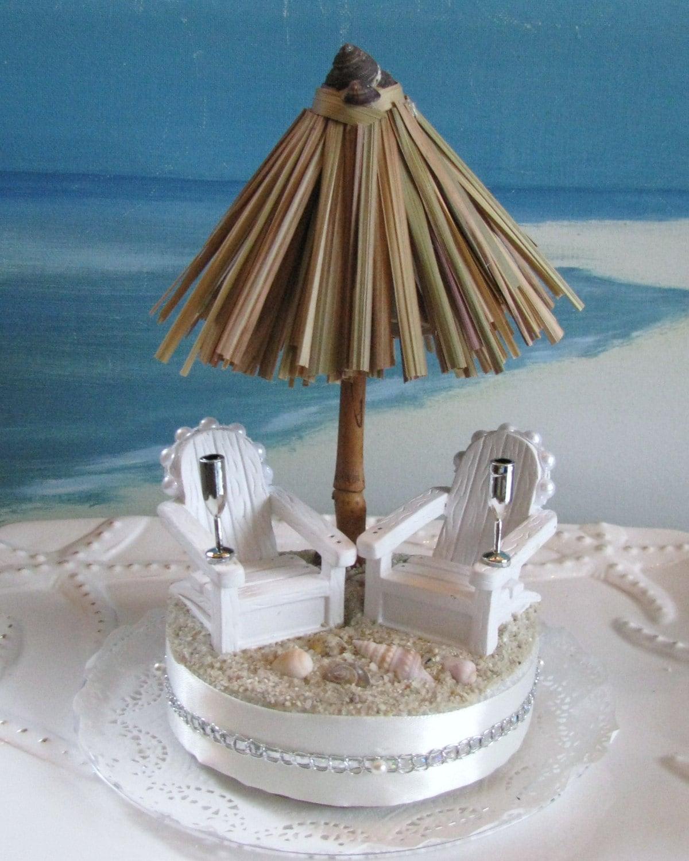 Tiki Umbrella Beach Wedding Cake Topper Cake Adirondack