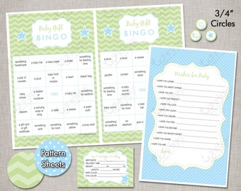 INSTANT DOWNLOAD Baby Shower Games - Baby Blue & Green