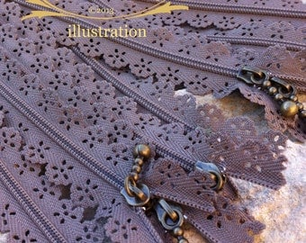 Lace flower zipper of 20cm - Chestnut