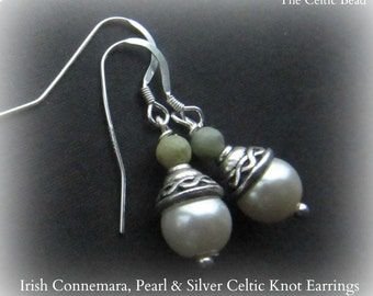 Irish Connemara Marble Pearl & Sterling Silver Knot Earrings
