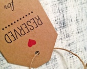 2 CUSTOM reserved seat tags - set of 2 tags for wedding ceremony, customized with your names of choice