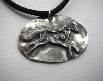 Silver Horse Pendant Fine Silver Precious Metal Clay Handcrafted Necklace