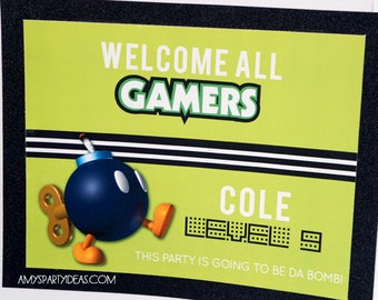 Gamer Party Welcome Door Sign   Gamer Party   Video Game Party   LuluCole