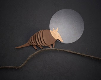 Armadillo Brooch. Natural undyed recycled leather.