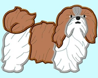 Shih Tzu  Dog APPLIQUE Embroidery Designs INSTANT Download  3 sizes