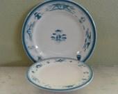 Syracuse China, Nautical, restaurant ware, vintage, plates, blue, airbrush, stencil