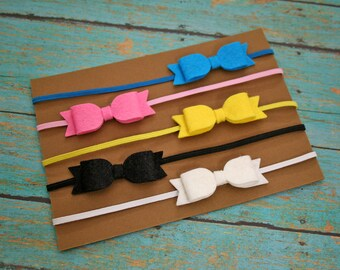 5 pack of wool felt bows - Itty bitty bows - Newborn / baby girl / photo prop / photography prop - 160 different colors