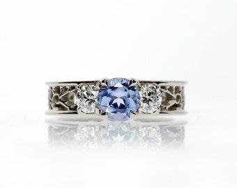 Light blue sapphire ring, diamond, filigree ring, engagement, lace, wedding ring, blue, sapphire engagement, diamond, unique engagement,