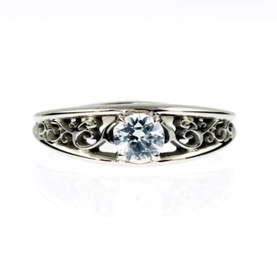 white sapphire ring engagement ring wave ring by