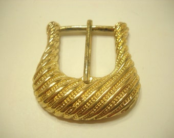 GOLD TONE RIDGED Belt Buckle (1496)