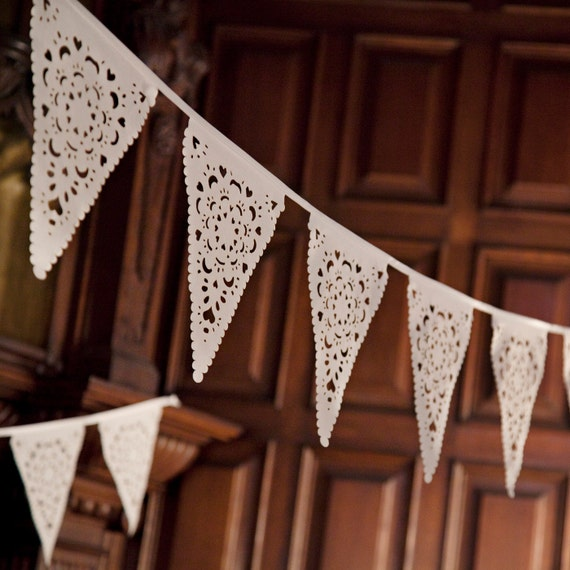Wedding bunting in a beautiful lace pattern romantic decorations for indoor and outdoor