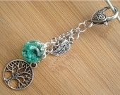 Tree of Life Leaf Crackle Glass Marble Deep Green Keychain