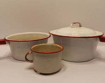 enamelware Instant collection of Four Vintage Pieces of red and white chippy Graniteware