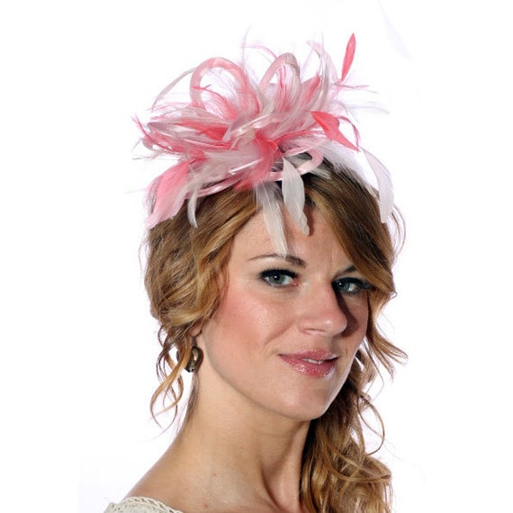 Baby Pink And Coral Feather Fascinator Hat Wedding Ladies