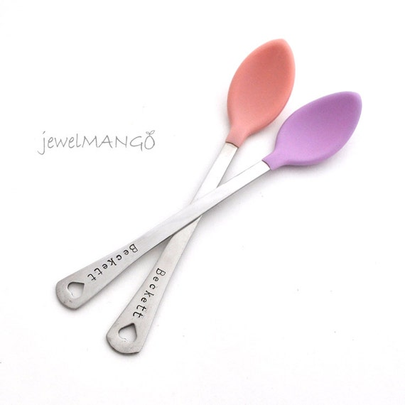 Personalized Baby Spoon SET OF TWO(2)  baby shower gift, new mom, baby feeding baby girl pink set, baby name gifts, coral pink, new mom