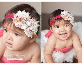 Vintage Shabby Headband. Baby Flower Headband. Coral Headband. Newborn Headband. Adult Headband. Girl Headband. Photo Prop.
